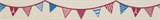 Natural Ribbon : 5m x 15mm: Bunting: Red & Navy