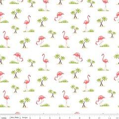Riley Blake - Flamingos - White