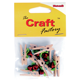 Pegs: Wooden: With Red Rose: Pack of 8