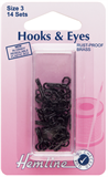Hook and Eyes: Black - Size 3