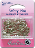 Safety Pins: Assorted - Nickel - 32pcs