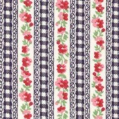 Floral Stripe - Navy