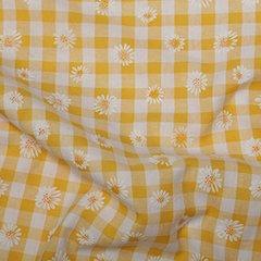 Daisy Puff Print Gingham - Yellow