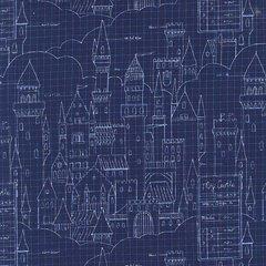 Michael Miller - Magic - Castle Plans - Navy