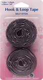 Hook & Loop Tape: Stick-On: Value Pack: 1.25m x 20mm: Black (Velcro)