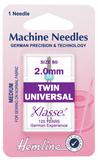 Twin Universal Machine Needles - 80/12 - 2.0mm