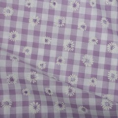 Daisy Puff Print Gingham - Lilac
