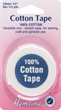Cotton Tape: White - 5m x 12mm