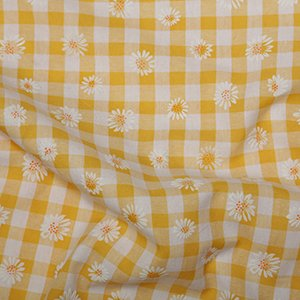 Daisy Puff Print Gingham - Yellow
