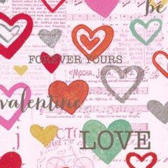 Clothworks - Vintage Valentine - Forever hearts - Pink