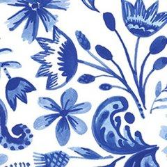 1mtr Remnant - Clothworks - Blue Porcelain - Floral - White