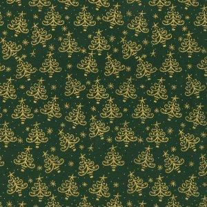 Gold Stars & Trees - Green