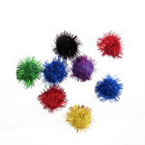 Glitter Pompom: 2.5cm (1in): Assorted Colours: Pack 8