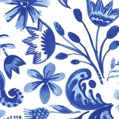 Clothworks - Blue Porcelain - Floral - White
