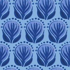 Clothworks - Blue Porcelain - Pottery Floral - Blue