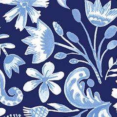 Clothworks - Blue Porcelain - Floral - Dark Blue