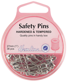 Safety Pins: 27mm - Nickel - 36pcs
