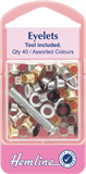 Eyelets with Tool: Asstd Colours - 5.5mm - 40pcs