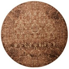 MAGNOLIA HOME BY JOANNA GAINES KIVI KV-04, 5-FOOT 3-INCH ROUND AREA RUG IN SAND/COPPER