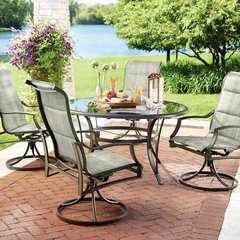 Hampton Bay FCS70357CS-ST Statesville 5-Piece Padded Sling Patio Dining Set with 53 in. Glass Top
