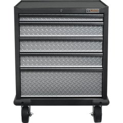 Gladiator GAGD275DRG Premier Series Pre-Assembled 35 in. H x 28 in. W x 25 in. D Steel 5-Drawer Rolling garage Cabinet in Silver Tread