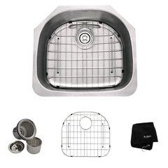 KRAUS KBU10 All-in-One Undermount Stainless Steel 23 in. Single Bowl Kitchen Sink