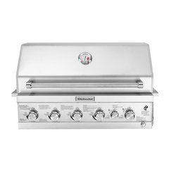 KitchenAid 740-0781, 4-Burner Built-in Propane Gas Island Grill Head in Stainless Steel with Searing Main Burner and Rotisserie Burner