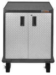 Gladiator GAGB272DRG Premier Series Pre-Assembled 35 in. H x 28 in. W x 25 in. D Steel 2-Door Rolling Garage Cabinet in Silver Tread