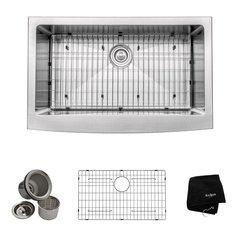 KRAUS KHF200-33 Farmhouse Apron Front Stainless Steel 33 in. Single Basin Kitchen Sink Kit