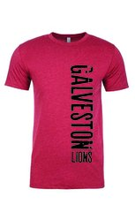 Galveston Unisex red tee with side print