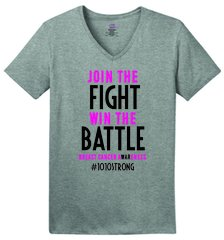 "#1010Strong ""Join the Fight"" Ladies V-neck tee"
