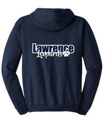 Lawrence Unisex Zip Up Sweatshirt glitter print with back print