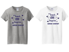 Lawrence Teach Love Inspire Ladies Tee glitter print