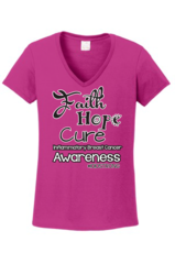 "#1010Strong ""Faith Hope Cure"" Ladies V-neck tee"