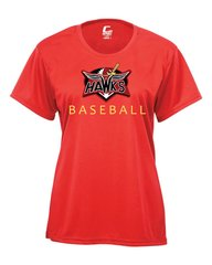 Hawks Ladies' screen print, full color logo, performance tee