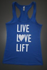 "Fitness ""Live Love Lift"" Cotton/Poly/Spandex RazorbackTank"