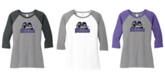 AHU Ladies Baseball tee with Knight Logo