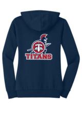 Titans Ladies' Junior Fit Zip Hoodie with Back Print