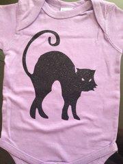 "Baby Onesie ""Halloween Black Cat"" Glitter Print"