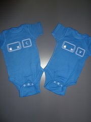 "Baby Twin Onesies ""Control Copy and Paste"" Mac Version Set"