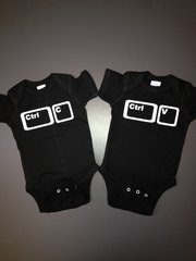 "Baby Twin Onesies ""Control Copy and Control Paste"" Set"