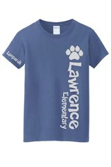 Lawrence ladies crew neck glitter with large side print and sleeve