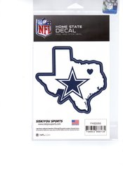 NFL DALLAS COWBOYS Home State Repositionable Vinyl Decal Auto Car NEW!!!