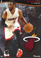 "2016 NBA DWYANE WADE MIAMI HEAT Fathead Tradeable 5"" X 7"""