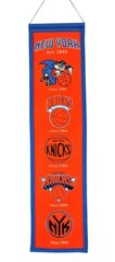 "NBA NEW YORK KNICKS EMBROIDERED GENUINE WOOL HERITAGE BANNER 8"" X 32"""