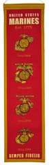 "UNITED STATES MARINE CORPS EMBROIDERED GENUINE WOOL HERITAGE BANNER 8"" X 32"" USMC"