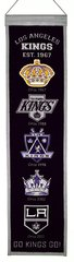 "NHL LOS ANGELES KINGS EMBROIDERED GENUINE WOOL HERITAGE BANNER 8"" X 32"""