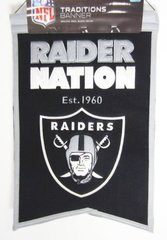 "NFL OAKLAND RAIDERS EMBROIDERED GENUINE WOOL TRADITIONS BANNER 14"" X 22"""