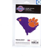 NCAA Clemson Tigers Home State Repositionable Vinyl Decal Auto Car NEW!!!