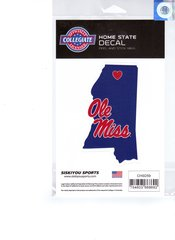 NCAA Mississippi Rebels Ole Miss Home State Repositionable Vinyl Decal Auto Car NEW!!!